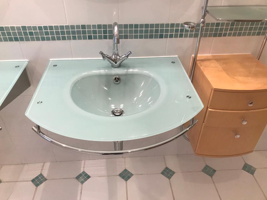 Glass His & Hers Bathroom sinks | in Poole, Dorset | Gumtree