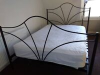 Metal bed frame with mattress (can be sold separately)