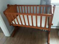 Wooden Rocking Baby Crib with Two Mattresses