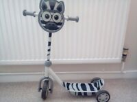 "KIDS ZEBRA 26"" VERY CUTE 3 WHEELED SCOOTER"