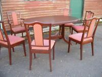 Retro extending dining table with 6 matching chairs. Nathan Furniture, Danish design, 1960's.