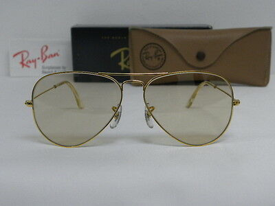 New Vintage B&L Ray Ban Large Metal Gold Changeable Brown L2928 Aviator 58mm USA
