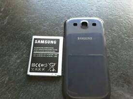 BRAND NEW: Samsung Galaxy S III mobile phone battery and back cover in colour: pebble blue