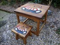 Quality,Children's,Solid Carved Hardwood,Teddy Bear Table & Stool.