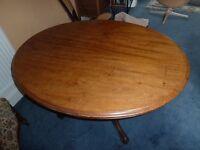 19th century, oval mahogany, 3 leg, tip top table.