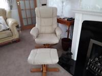 leather affect chair and foot stall