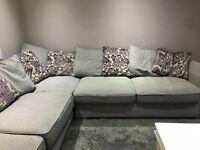 Grey Fabric Corner Sofa with Chrome Feet and Large Footstool (inc cushions)