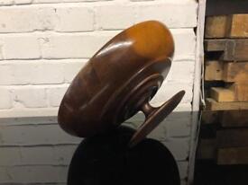 Vintage hand turned wood pedestal fruit bowl center piece