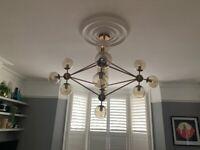 Retro, Mid Century style pendant chandelier 15 globes antique brass