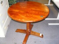 Circular Wooden Dining Hall or Lamp Table on Pedestal