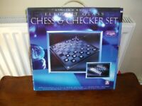 ELEGANT GLASS CHESS AND CHECKERS GAME