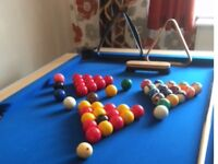 Pool Table, slate bed, Blue Cloth Oak Surround size 6'x4'.