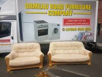 3+2 cream leather sofa in pine wooden frame