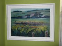 Original Vicky Speirs Painting - 'Farm at Blair's- Dusk'