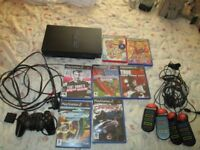 PS2 SCPH-39003 CONSOLE BUNDLE,7 GAMES WHICH ARE BUZZ THE MEGA QUIZ,BUZZ THE MUSIC QUIZ ETC