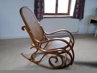 Cane and bentwood rocking chair