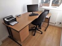Right Hand Office Desk with drawers and chair