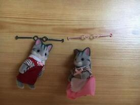 Sylvanian families village store cat shopkeepers