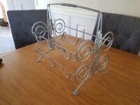 Silver freestanding wine rack