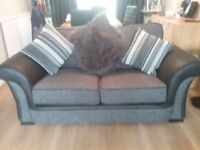 2seater sofa and slightly smaller 2 seater love chair and large footstool can be used as seat