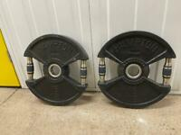 2 x 15kg black plates with handles