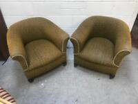 Pair of Victorian tub Chairs on brass casters.