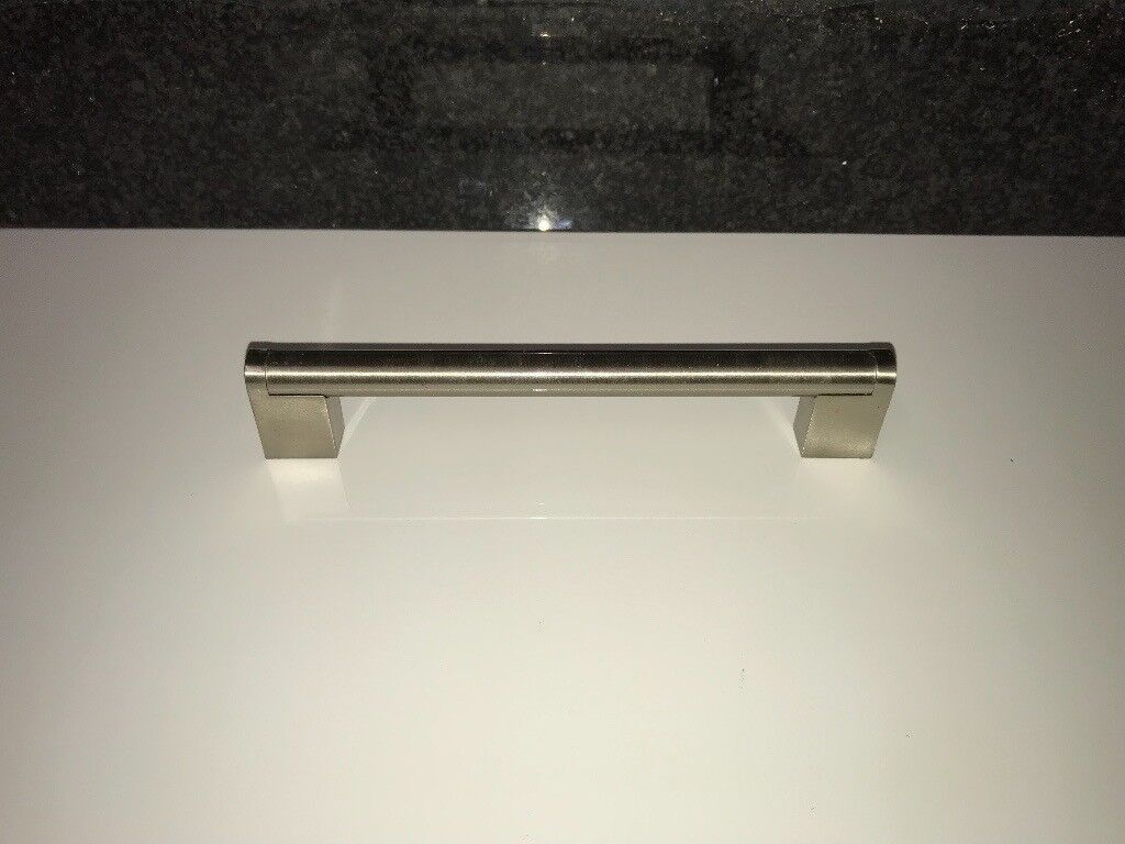 Brushed stainless steel kitchen cupboard handles