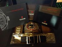 Tudor Black Bay Red Bracelet Automatic Swiss Luxury Watch Box and Papers