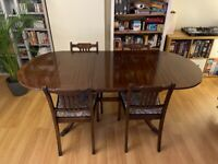 Mahogany Regency Extendable Dining Table & 4 Upholstered Dining Chairs