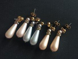 Set of 3 pearl replica earrings never worn