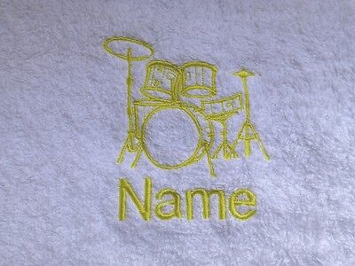 - DRUM KIT Embroidered onto Towels, Hooded Towel, Bath Robe with Personalised name