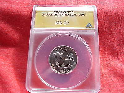 Click now to see the BUY IT NOW Price! 2004 D WISCONSIN EXTRA LEAF  LOW QUARTER GRADED ANACS MS 67 VARIETY ERROR