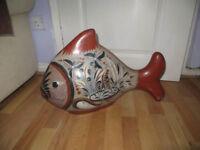 fish, large pottery fish, by V Silva Mexico