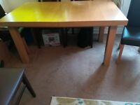 Extendable Dining Table with 4 Faux Leather Dining Chairs
