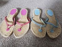 2x pairs of ladies Base sandles in pink and blue