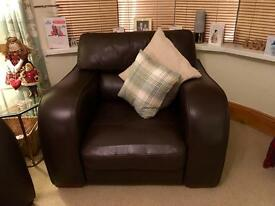 Lovely Chocolate brown leather 2 piece Sofa