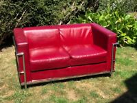 Two Seater Burgundy Leather Sofa