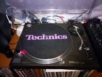 2 x Technics 1210 Mk2 Turntables (black) + lids -- Excellent Condition