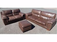 HARVEYS TWO & THREE SEATER SAND BROWN THICK REAL LEATHER SOFA SUITE (I CAN DELIVER TODAY)