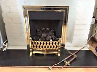 GAS FIRE COAL EFFECT BRASS SURROUND & FRONT WITH ATTACHMENTS