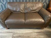 2 Seater Sofa Leather Dark Brown