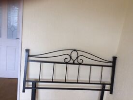 Wrought iron headboard for double bed for sale. Gunmetal grey, very good condition.