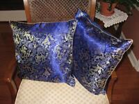 Blue Satin Cushions