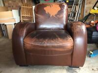 Brown Faux Leather Arm Chair