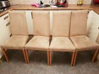Set of 4 faux suede chairs