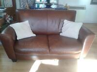 Natuzzi Brown Leather 2 Seater Sofa 2 of 2