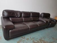 DARK BROWN ITALIAN LEATHER SUITE MADE BY SOFITALIA 3 SEATER SOFA SETTEE ARMCHAIR DELIVERY AVAILABLE