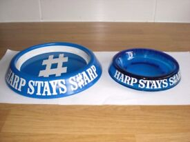 "TWO HARP 'STAYS SHARP' ASHTRAYS-1 x BLUE GLASS 6"" dia + 1 x BLUE METAL 8"" high NEW"