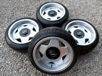 "15"" BORBET ALLOY WHEELS & TYRES 4x108 4x100 vw lupo ford mini vauxhall corsa"