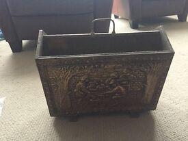 Vintage, antique, hammered brass newspaper/magazine rack £20